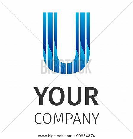 Abstract blue logo U