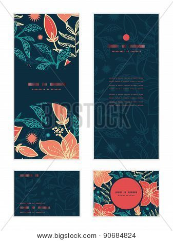 Vector vibrant tropical hibiscus flowers vertical frame pattern invitation greeting, RSVP and thank