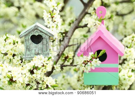 Decorative nesting boxes on bright background