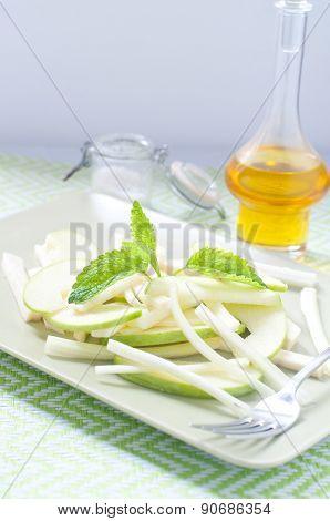 Fresh salad and green celeriac celery