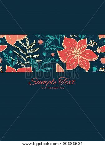 Vector vibrant tropical hibiscus flowers stripe frame vertical card invitation template