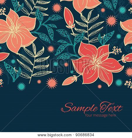 Vector vibrant tropical hibiscus flowers horizontal border card template