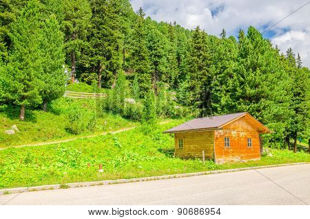 Wooden cabin and green pines, Austria, Alps