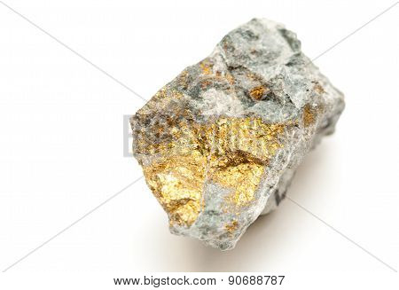 Chalcopyrite Mineral Sample With Gold, Copper With Pyrite
