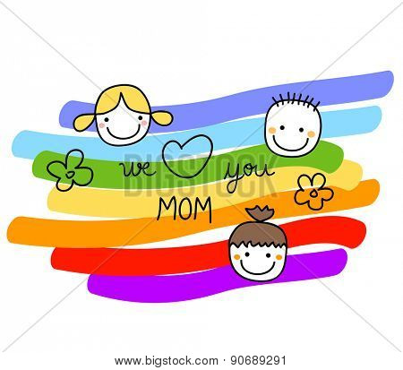 we love you mom illustration for  mothers day