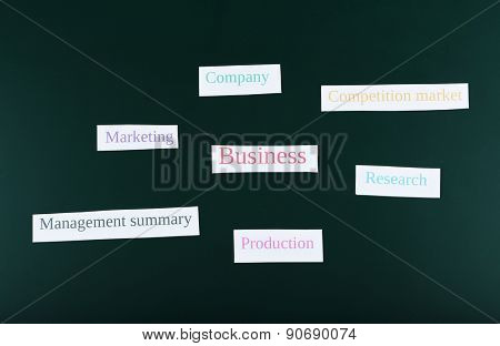 Themed keywords on green blackboard background