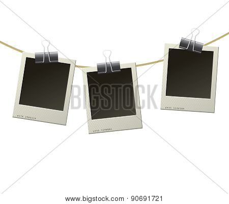 Polaroid Frames On Rope