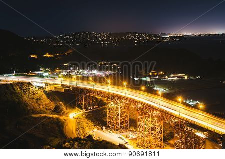 View Of Us 101 At Night, From   Golden Gate National Recreation Area, In San Francisco, California.