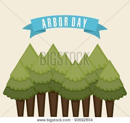 arbor day over  white background vector illustration