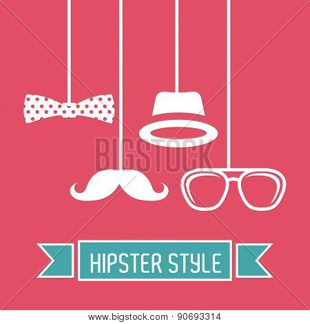 hipster design over pink background vector  illustration