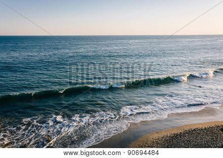 View Of Waves In The Pacific Ocean, At El Matador State Beach, Malibu, California.