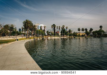 Walkway Along The Lake At Macarthur Park, In Westlake, Los Angeles, California.
