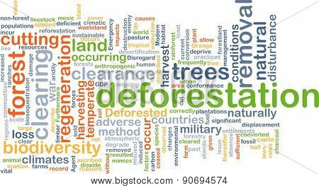Background concept wordcloud illustration of deforestation