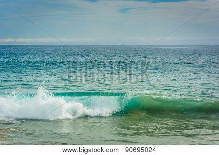 Wave In The Pacific Ocean, Seen At Newport Beach, California.