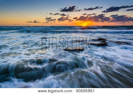 Waves In The Pacific Ocean At Sunset, In Laguna Beach, California.