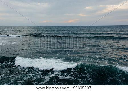Waves In The Pacific Ocean In Ocean Beach, California.
