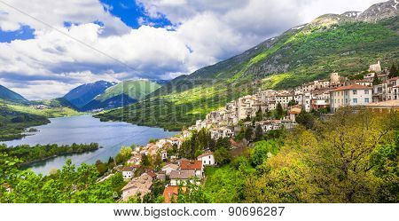 beautiful Italy series- panoramic view of lake of Barrea with vi