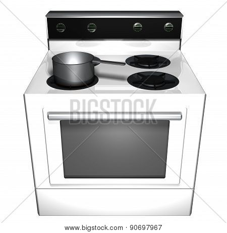 Illustration of a stove and range with a pot on the burner