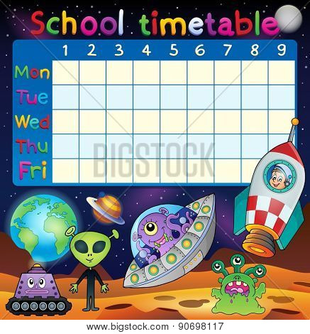 School timetable space fantasy theme - eps10 vector illustration.