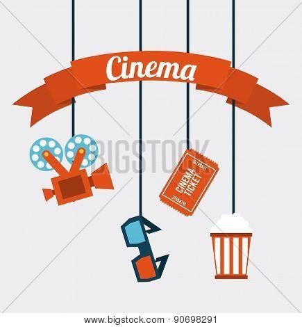 Cinema Icons hanging on white background vector illustration