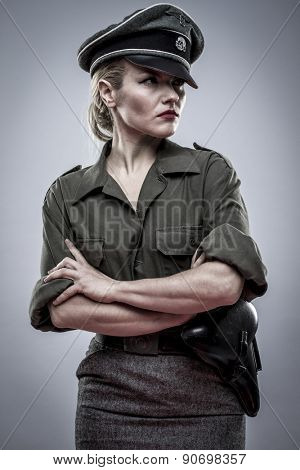 Reenacting, German officer in World War II, reenactment, soldier beautiful woman