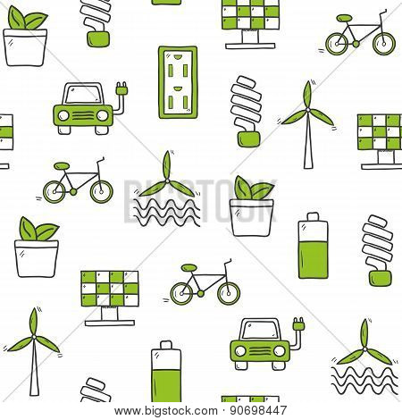 Seamless hand drawn background on renewable energy theme