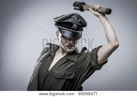 Hand grenade, German officer in World War II, reenactment, soldier beautiful woman