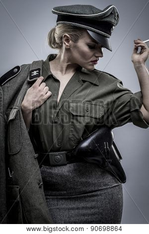ww2, German officer in World War II, reenactment, soldier beautiful woman