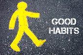 image of  habits  - Yellow pedestrian figure on the road walking towards GOOD HABITS - JPG