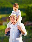 pic of grandpa  - happy grandson sitting on shoulders of grandpa countryside - JPG