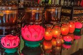 stock photo of buddhist  - Prayer lamps in a buddhist temple in an old Chinese temple in Georgetown city - JPG