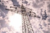 image of voltage  - High Voltage Electric Transmission Tower Energy Pylon - JPG