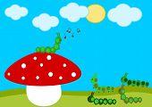 picture of green caterpillar  - caterpillar concert on the red mushroom cartoon illustration - JPG