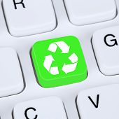 stock photo of nature conservation  - Internet concept recycling button for recycle natural conservation on computer keyboard - JPG