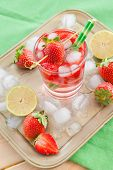 picture of sangria  - Homemade strawberry lemonade or sangria with fresh lime - JPG