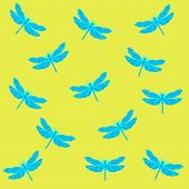 picture of dragonflies  - openwork pattern of a dragonfly on a yellow background - JPG