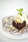 pic of brownie  - isolated homemade brownies cake with ice cream on top - JPG