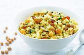 picture of chickpea  - rice wild rice chickpeas with raisins and herbs on a white background - JPG