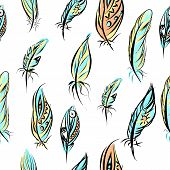 image of aztec  - Seamless aztec colorful feathers home decoration illustration background pattern in vector - JPG