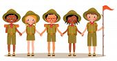 stock photo of boy scouts  - Stock Vector cartoon illustration of a group of scouts children boys and girls in summer children camp - JPG