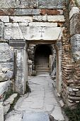 stock photo of catacombs  - Ancient doorway to Christian catacombs in Ephesus Turkey - JPG