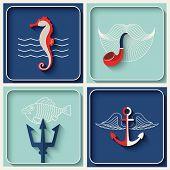 foto of marines  - Vector marine theme icons - JPG