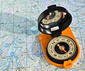 stock photo of compass  - The compass on the map - JPG