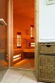 pic of sauna  - The modern sauna in a luxury apartment - JPG