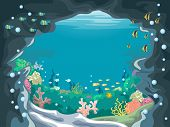 pic of cave  - Scenic Illustration of an Underwater Cave with Colorful Fishes Swimming About - JPG