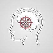 pic of headings  - headache head silhouette and red epicenter of the pain of head - JPG