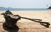 pic of old boat  - Old fishing boat standing on the sandy beach - JPG