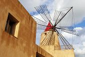 stock photo of marsala  - The windmill of Mozia, on the road from Trapani to Marsala. ** Note: Visible grain at 100%, best at smaller sizes - JPG
