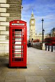 picture of big-ben  - Red phone box with Big Ben London - JPG