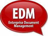 foto of enterprise  - word speech bubble illustration of business acronym term EDM Enterprise Document Management - JPG